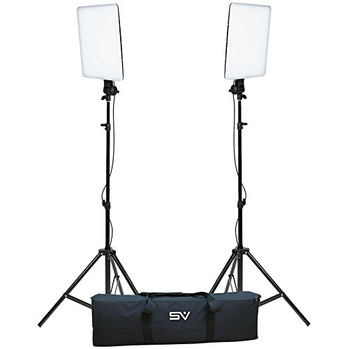 (Smith Victor SlimPanel 800 Watt Daylight LED 2 Light Kit with Stands and)