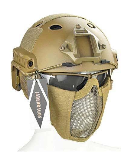 Jadedragon PJ Tactical Fast Helmet & Protect Ear Foldable Double Straps Half Face Mesh Mask & Goggle (Tan) ()