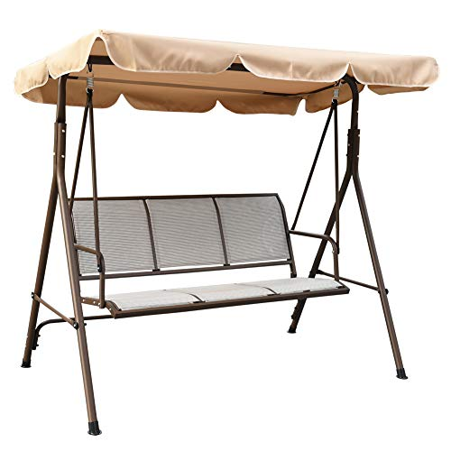 Sundale Outdoor Porch Swing Canopy Sling Chair 3 Seats with Steel Frame Patio Backyard Awning, Khaki