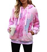Nirovien Womens Sherpa Pullover Tie Dye Fuzzy Hoodie Double Fleece Sweatshirts Fluffy Oversized P...