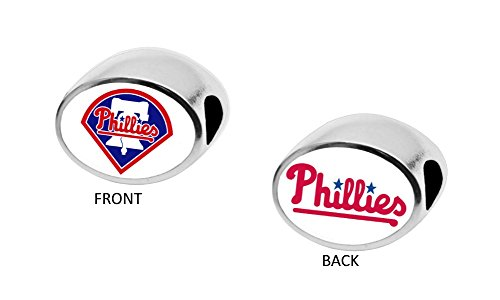 Philadelphia Phillies 2-Sided Bead Fits Most Bracelet Lines Including Pandora, Chamilia, Troll, Biagi, Zable, Kera, Personality, Reflections, Silverado and More Charm Bead Fits Pandora Style Bracelets -