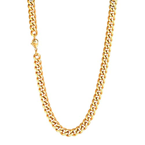 - U7 Men 12MM Turnover Miami Cuban Chain Heavy Chunky 18K Gold Plated Chunky Curb Link Necklace 30