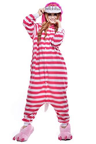 Cokle Adult Cartoon Pajamas One Piece Sleepsuit Hooded Lounge Sleepwear Animal Costumes Cheshire Cat L