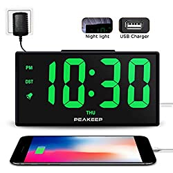 PEAKEEP 6.8 Inches Night Light Digital Alarm Clock with USB Charging Port and Dimmer, 1 3/4 Inches Large LED Display, Loud Alarm Clock, Day, DST, AC Powered for Bedrooms Bedside (Green LED)