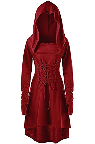 Womens Renaissance Costumes Hooded Robe Lace Up Vintage Pullover High Low Long Hoodie Dress Red