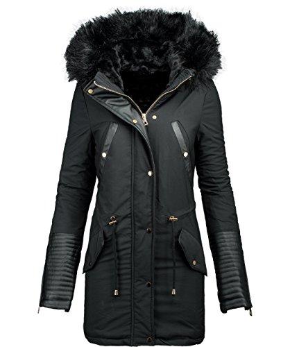 d'hiver Veste en synthtique veste long d'hiver Schwarz cuir chaud manteau d'hiver B276 Parka IdqHI