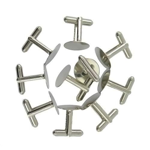 Base Glue on Pad Cuff Links DIY Cufflink Finding Silver ()