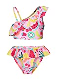 Cotrio Unicorn Two Pieces Swimsuit Girls Floral Hawaiian Ruffle Bikini Set