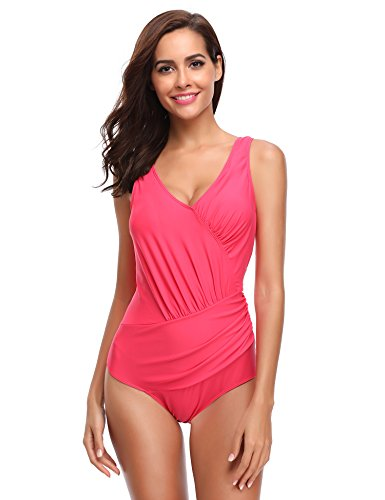 c2e7501ffdf LALAVAVA Women's One Piece Swimsuits Tummy Control Monokinis Classy Ruched Bathing  Suits V Neck Swimwear