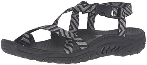 Skechers Modern Comfort Sandals Women's Reggae-Haystack Toe Ring Sandal,Black/Grey,9 M US