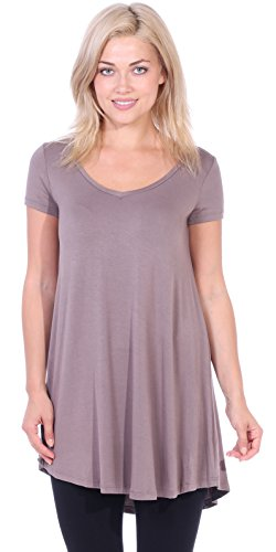 Popana Women's Short Sleeve Tunic Top Loose Fit Shirt - Wear With Leggings Plus Size - Made In USA Medium - Toffee Brown Apparel
