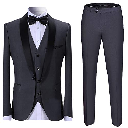 (Boyland Men's 3 Pieces Suit Shawl Lapel Tuxedo Suits Shawl Lapel One Button Tux Jacket Vest Trousers Dinner Wedding)