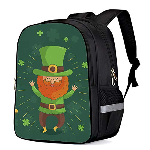 Happy St. Patrick's Day Students Backpack for School Bookbag Casual Shoulder Daypack Travel Back Pack Bags for Teen Boys Girls, Leprechaun Costume Man Throw Gold Coins -