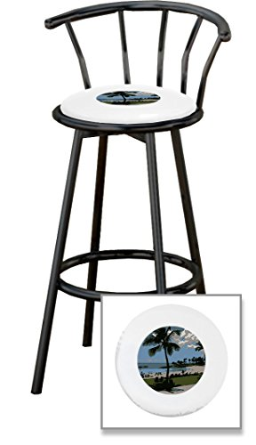 New 24'' Tall Black Metal Finish Swivel Seat Bar Stools with Hawaii Seat Cushions and your choice of colored seat cushion vinyl! by The Furniture Cove