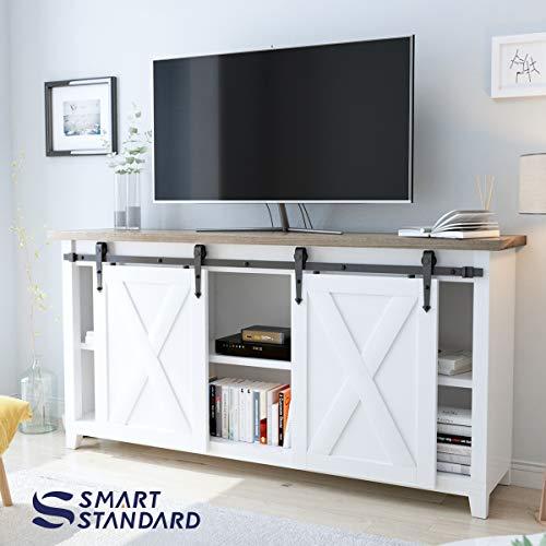 6ft Double Door Cabinet Barn Door Hardware Kit- Mini Sliding Door Hardware - for Cabinet TV Stand - Simple and Easy to Install - Fit 24'' Wide Door Panel (No Cabinet) (Mini Arrow Shape Hangers) by SMARTSTANDARD (Image #2)