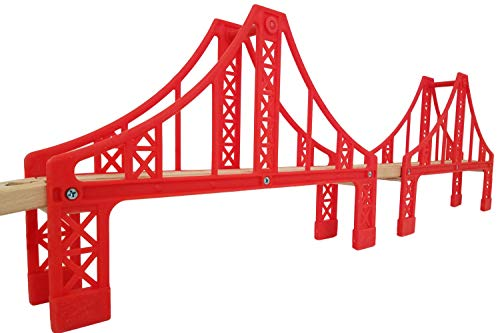 Off Thomas Train - Flash Sale | Double Suspension Bridge - Deluxe Wooden Toy Accessories for Kids Toddler Boys Girls - Compatible with Thomas Trains Railway, Brio Tracks, and Major Brands. 2X Red Bridges
