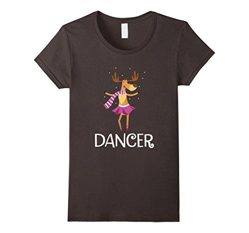 Dancer Reindeer (Womens Dancer Prancer Christmas Dancing Reindeer T-Shirt Medium Asphalt)