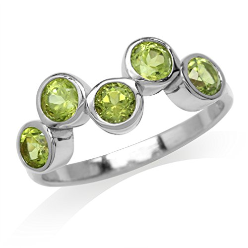 1.5ct. 5-Stone Natural Peridot White Gold Plated 925 Sterling Silver Bezel Set Ring Size 8 ()