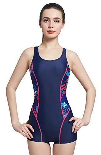 5292e0b63f1fd Women Boyleg Sport Racerback Swimwear Athletic One Piece Bathing Suit  Unitard with Color Blocks Blue