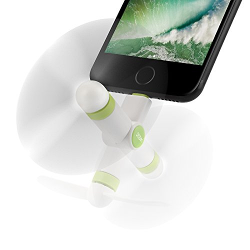 DISDIM Portable Mini Fan with 180 Rotating Function Electric Cell Phone USB Gadget Cooling Fan Compatible for iPhone Xs/Max / X / 8 / 8Plus / 7/7 Plus / 6s / 6s Plus/iPad Mini/Air/ iPod-White