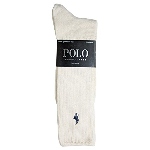 Polo Ralph Lauren XL Cotton Crew Socks (8205XXLE) Natural, 13-16