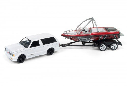 White Fishing Boat (Johnny Lightning JLBT003A-1992GMC-WHITE 1992 GMC Typhoon Gloss White with Boat & Trailer Gone Fishing Limited to 2508pc 1/64 Diecast Model Car)
