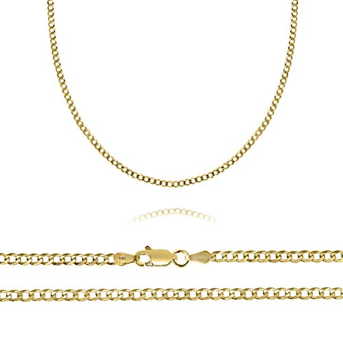 14K Solid Gold 2.5MM Curb Chain Necklace with Lobster Clasp, 16