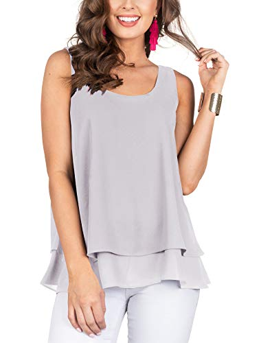 - Floral Find Women's Chiffon Layered Tank Tops Summer Sleeveless Round Neck Blouses Shirts