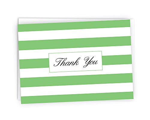 Striped Thank You Cards - 48 Cards & Envelopes (Green)