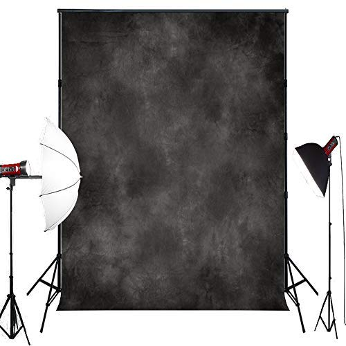 MUZI Photography Backdrops Dark Gray Muslin Background Graduation Photos Business Gigs Photographs Well for Portraits Concrete Wall for Studio Props Cotton Polyester 5x6.5ft XT-6278