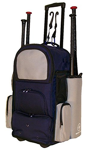 New Design Vista CTR in Navy Blue and Silver Softball Baseball Bat Equipment Roller Backpack with Innovative Removable Bat Sleeves, Embroidery Patch and Pull out Handle by MAXOPS