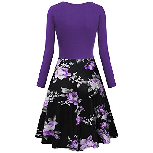 (Dresses for Girls Vintage Long Sleeve V-Neck Print Evening Party Prom Swing)
