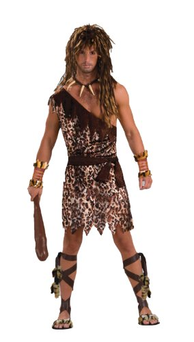 Tarzan Costume Accessories (Men's Stone Age Style Cave Stud Costume, Animal Print, One)