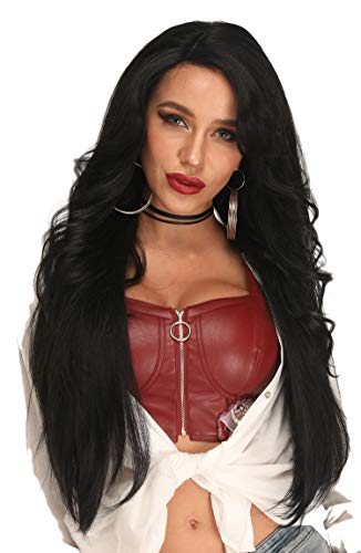 - Ebingoo Long Body Wave Straight Lace Front Wigs with Side Part for Women Heat Resistant Black Pre Plucked Synthetic Wig with Side Bang 30 Inches