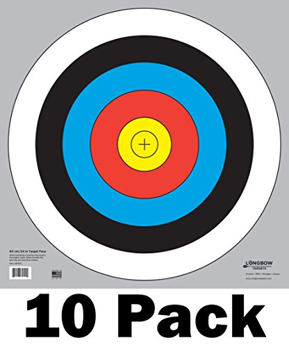 60 cm / 24 in Bullseye Archery and Gun Targets by Longbow Targets (pk of 10) from Longbow Targets