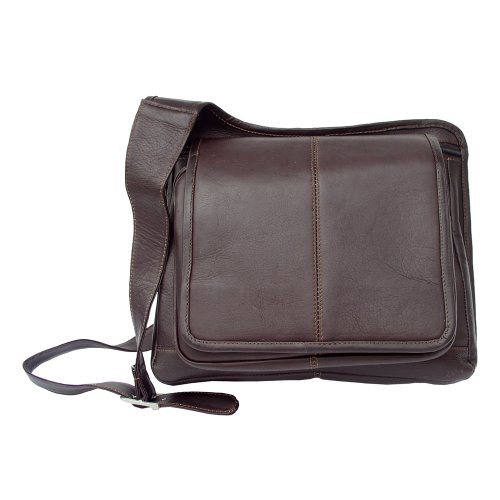 Piel Leather Slim Line Flap-Over Ladies Bag, Chocolate, One ()