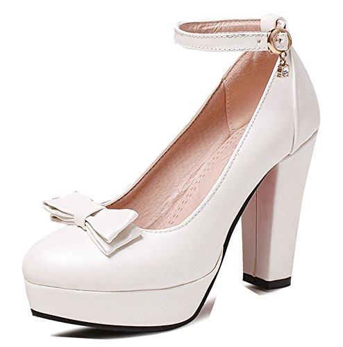 Aisun Femme Elégant Chaussures de Mariage Noeud Demoiselle D'Honneur Basse Escarpins Blanc fhpsCfua