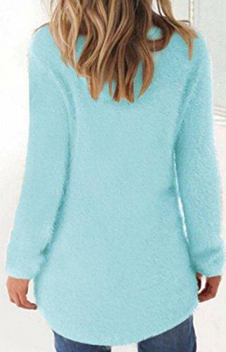 S Solido Maglione Maglia Del Pullover Panno M A Delle amp; Blu W Di Casuale amp; Colore Morbido Donne 1qS4Hw