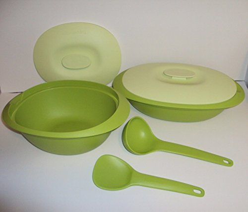(Tupperware Legacy Blossom Microwave Serving Casserole Dish and Soup Tureen Set)