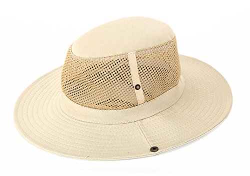 SUNLAND Men's Sun Hat Summer Hat Wide Brim Packable Bucket Safari Cap Fishing Hats Beige