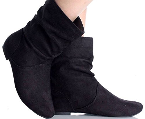 Womens Ladies Faux Suede Fashion Pixie Ankle Boots Flats Shoes UK Size 3-9 FB490 Black