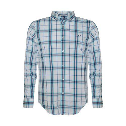 Vineyard Vines Men's Slim Fit Whale Shirt Button Down Dress Shirt (Picket Plaid/Aqua Ocean, Large)