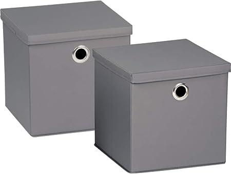 Home Creation Aufbewahrungsbox Mit Deckel Junges Wohnen 30x30x30 Cm 2er Set Grau Amazon De Kuche Haushalt