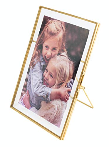 Vintage Style Antique Gold Picture Frames Gold Photo Frame with Pressed Glass, Brass (Vertical) (5 x 7)