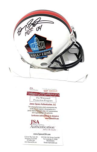 Barry Sanders Detriot Lions Signed Autograph Hall Of Fame Mini Helmet HOF Inscribed JSA Witnessed Certified