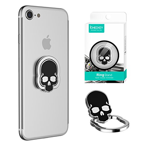 ICHECKEY Cell Phone Ring Holder Ultra-Thin 360° Adjustable Ring Stand Grip Mount Kickstand for iPhone 7/7 Plus, Galaxy S8/S8 Plus and Almost All Cases/Phones - Silver and ()
