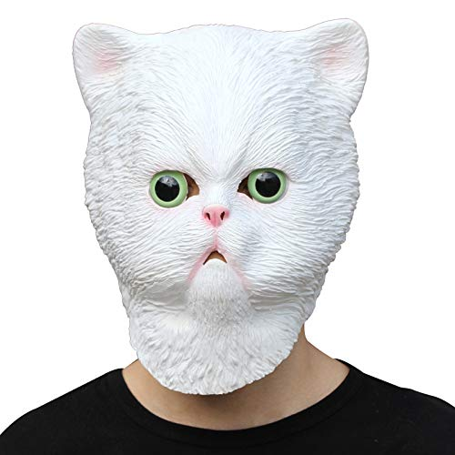 PartyHop - White Persiant Cat Mask - Halloween Latex Animal Head Mask -