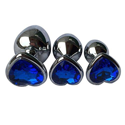 Makalon Crystal Silver Colour Metal Backyard Stainless Steel Plug Anal Hitch (S, Blue)