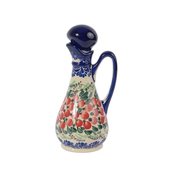 Traditional Polish Pottery, Handcrafted Ceramic Olive Oil or Vinegar Bottle 160ml, Boleslawiec Style Pattern, V.401.Cranberry