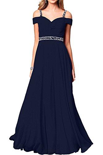 Abendkleider Chiffon La Kleider Brautmutterkleider Damen Dunkel Navy Marie Blau Jugendweihe Braut Langes Tanzenkleider qxqWw1RfpX